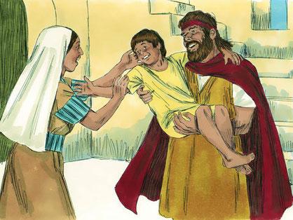 Le Tout-Puissant écoute la demande d'Elie et l'enfant revient à la vie «  l'âme de l'enfant revint en lui, et il prit vie. » La mère déclare : Maintenant, je suis certaine que tu es de Dieu et les paroles que tu prononces au nom de Jéhovah sont vraies.