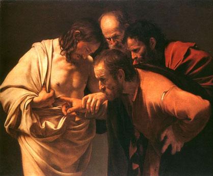 Bella Pintura de Tomas Cavaggio Representando a Tomas el Incredulo