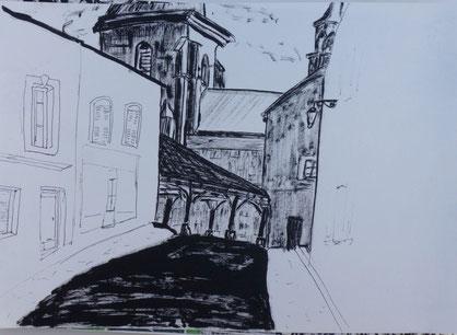 Nolay, la vieille halle et l'église
