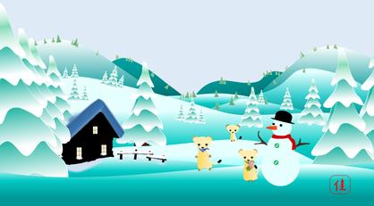 オコジョと冬景色