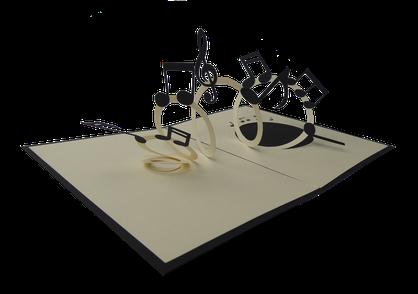 Carte Pop-Up Musique - Carte kirigami notes de musique