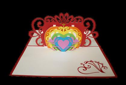 Carte coeur arc-en-ciel