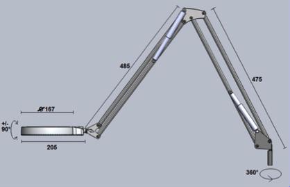 Technische Zeichnung LED Lupenleuchte RLL Basic I