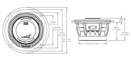 Skizze Maße GS42 Koaxialsystem Audiofrog