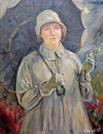 Erwin Bowien (1899-1972)  - Erna Heinen-Steinhoff mit Regenschirm, Öl, 1936