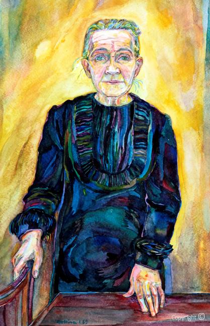 Bettina Heinen-Ayech (1937-2020)  - Erna Heinen-Steinhoff im Jahre Ihres Todes, 1969  Aquarell