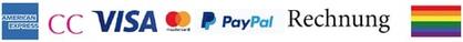 Zahlungsarten: Kreditkarten, American Express, Visa, Mastercard etc, Paypal, Klarna, Rechnung
