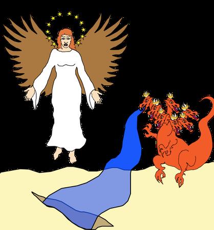 Après une période d'oppression de 3 ans et demi, le vrai christianisme réapparaît sur la terre. L'interdiction et l'oppression cessent. La terre qui représente la partie stable de l'humanité avec des lois démocratiques vient au secours de la femme.