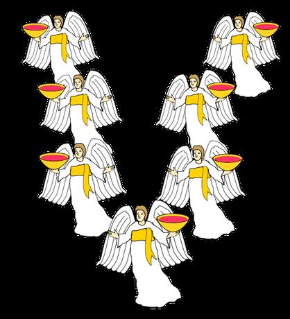 Dans le livre de l'Apocalypse, 7 anges tiennent 7 fléaux ou 7 plaies dans les 7 coupes pleins de la colère de Dieu. Leur pouvoir de destruction est immense. La colère de Dieu s'accomplit par eux.