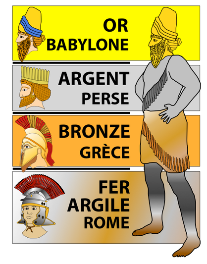 La statue géante du rêve de Nébucadnetsar est composée de plusieurs métaux de moins en moins précieux de la tête aux pieds. Le métal qui représente la Grèce est le bronze, un alliage de cuivre qui a moins de valeur que l'argent (Médo-Perse)