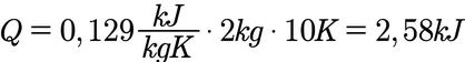 Beispielaufgabe zur Berechnung der Wärme