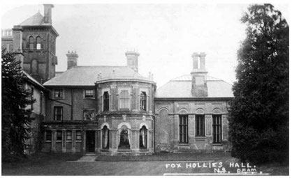 Fox Hollies Hall c1905 - Image courtesy of Acocks Green History Society website: use permitted for non-commercial or educational purposes.