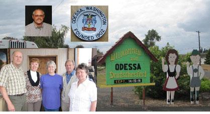 Helmut und Lydia Kieß (von links), Terri Schmidt-Crosby, Melitta und Ernst Beierbach. das Wappen von Odessa.