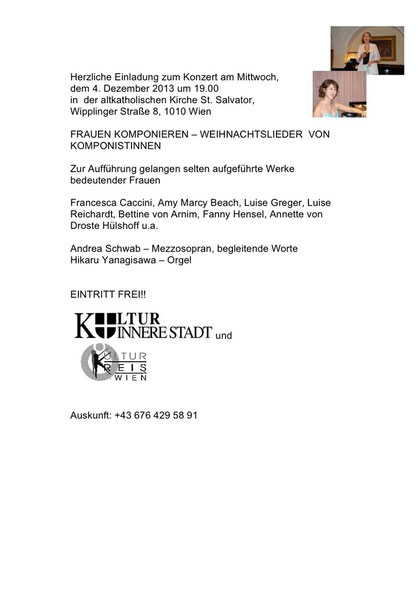 Kulturkreis Wien Kultur Innere Stadt Andrea Schwab Hikaru Yanagisawa Frauen Komponieren St. Salvator Konzert Musik
