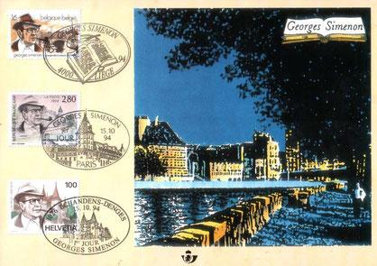 carte avec trois timbres simultanés émise 15/10/94