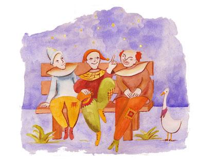Das: Die drei Clowns - Bilderbuch   Eine Weile dauerts noch, weil alles wird bald Hand-Gekocht!