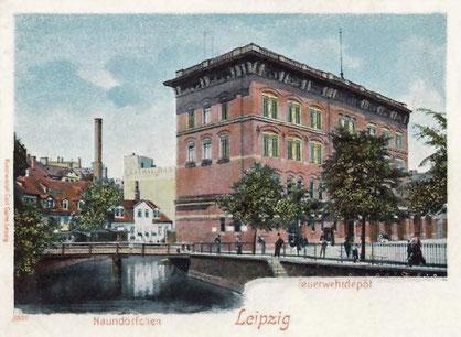 Alte Hauptfeuerwache mit dem dahinterliegenden Naundörfchen um 1900.