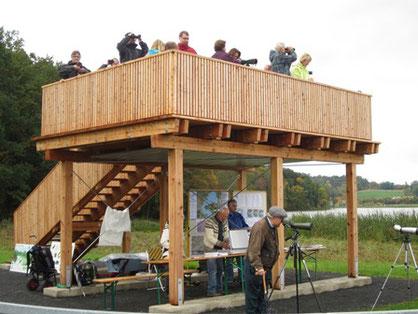 Unsere Aussichtsplattform am Goldbergsee (c) Annette Beuerlein
