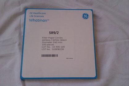 GE Whatman Filterpapier 589/2 Lot Nr. G28909136 Inhalt 100 Stk. Ersatzteile und Zubehör für Chemie und Labor