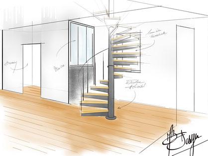 Réalisation de croquis, esquisses de vos projets escalier, verrière, mobilier, déco - Métal Bois Design