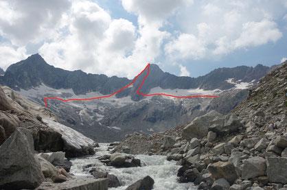 Hiendertelltihorn Ostgrat, Ostsporn, Zustieg, Abstieg, Touren Gruebenkessel, Gruebenhütte, Gröebeseewli