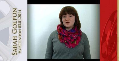 Sarah Golpon. Unsere zukünftige Praktikantin in der Zeit vom 19. Mai 2014 - 06. Juni 2014