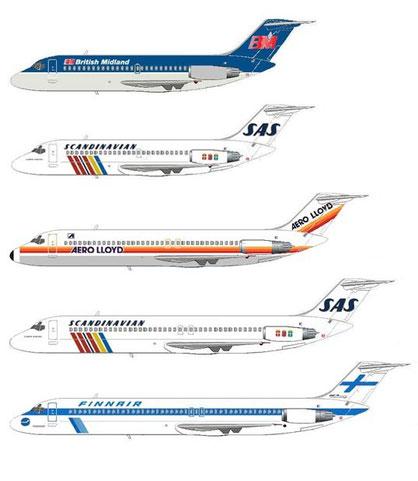Evolution der DC-9 von der Serie -10 bis zur Serie -50/Courtesy: MD-80.com