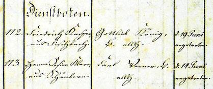 Zu Beginn der Heu-Mahd wurden auch bei den Lotzdorfer Bauern Kinder als Dienstboten eingestellt. Akte von 1836