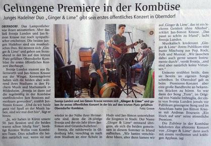 Ginger & Lime erstes Konzert Kombüse Oberndorf NEZ Niederelbe Zeitung