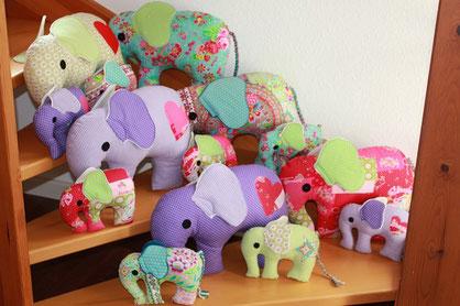 Selbstgenähte Elefanten als Glückbringer