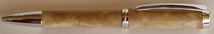 Drehkugelschreiber aus Muschelbirke gedrechselt