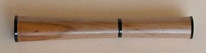 Rollerball Schreibgeräte aus Holz gedrechselt mit Black Chrome Ring