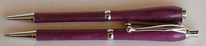 Schreibgeräte Set aus Amaranth gedrechselt
