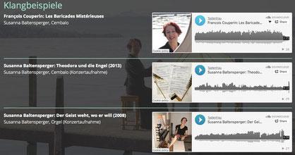 Klangbeispiele sind via Soundcloud in die Website eingebaut.
