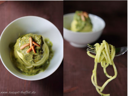 Gemüsespaghetti aus Zucchini - mit Avocado-Basilikum-Pesto