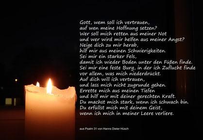 Kerze mit Gebet