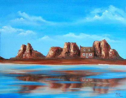 Ölmalerei - Haus in Frankreich - Haus zwischen Felsen - Haus am Meer