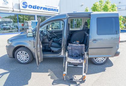 behindertengerechter Volkswagen Caddy Rollstuhlverladesystem, Handgerät, MFD, Sodermanns