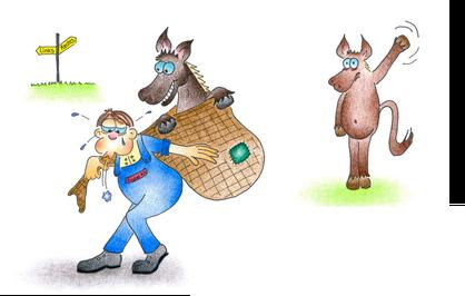 Grusskarte Gute Reise Mann schleppt Pferd im Sack