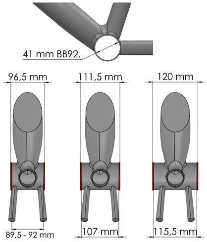 Boitier BB92 mesures du cadre seul vtt