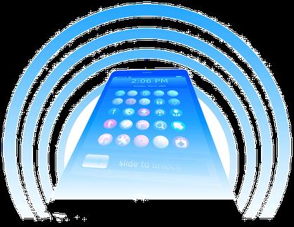 Téléphone portable émanant des ondes électromagnétiques