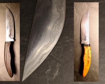 handgeschmiedetes Damastmesser mit Vogelahorn, Eisenholz und Zebrano