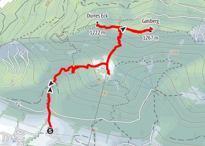 Routenverlauf vom Parkplatz Mollner Hütte auf den Gaisberg und das Dürre Eck