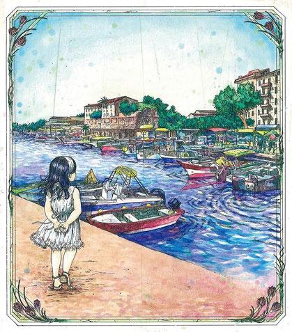タイトル :「U portu di Aiacciu」 技法:腐蝕銅版画  サイズ: 200×175mm