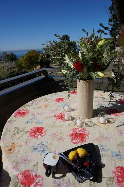 カリフォルニアのラグナビーチで頂いた、お庭で採れたフルーツを使ったデザート。こんなに美味しいブラックベリーを食べたのは初めてだった!