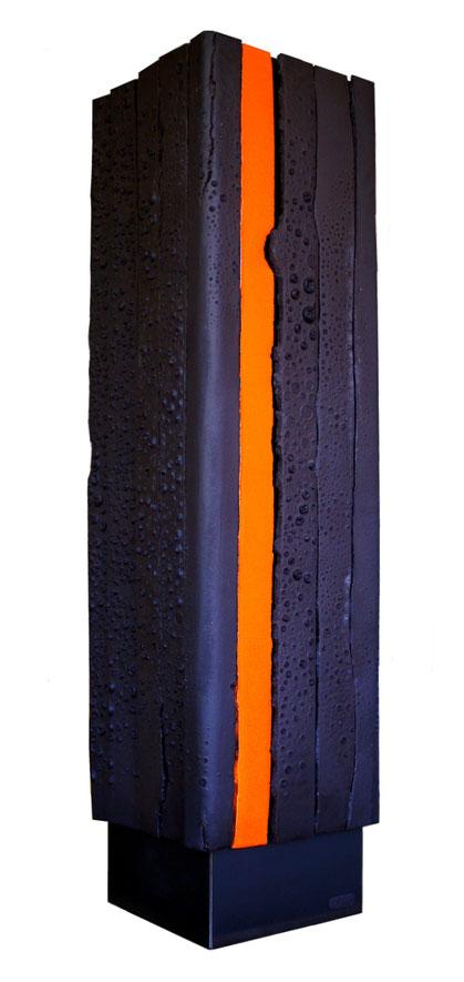 Terre cuite émaillée sur plaque d'acier - Hauteur : 90cm - Largeur : 23 cm - Profondeur : 23 cm - Collection Privée (France)