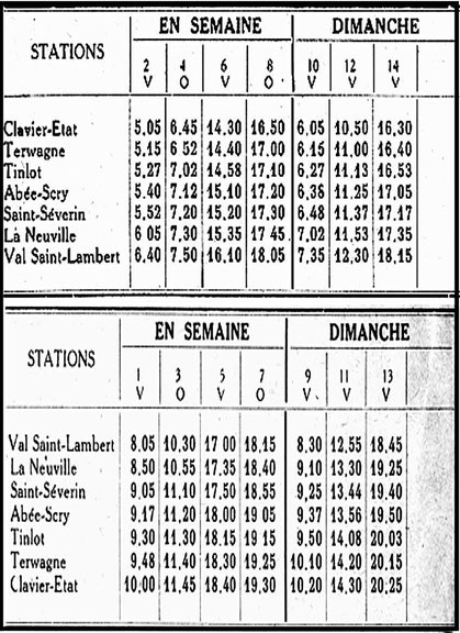horaire 1945