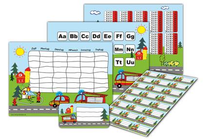 XXL Schulset Feuerwehr, mit Stundenplan, ABC & 1x1 Lernposter sowie Heftaufkleber