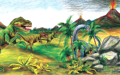 Kinderbordüre: Urzeit Dinos mit T-Rex