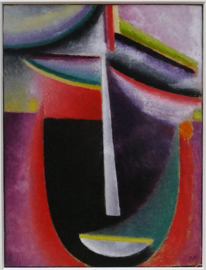 Alexej von Jawlensky : tête abstraite, noir-jaune-violet, 1922